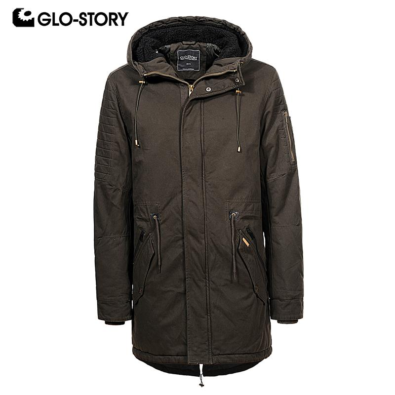 4c5da5565 2019 GLO STORY Men Casual Winter Coats Street Wear Drawstring Waist ...