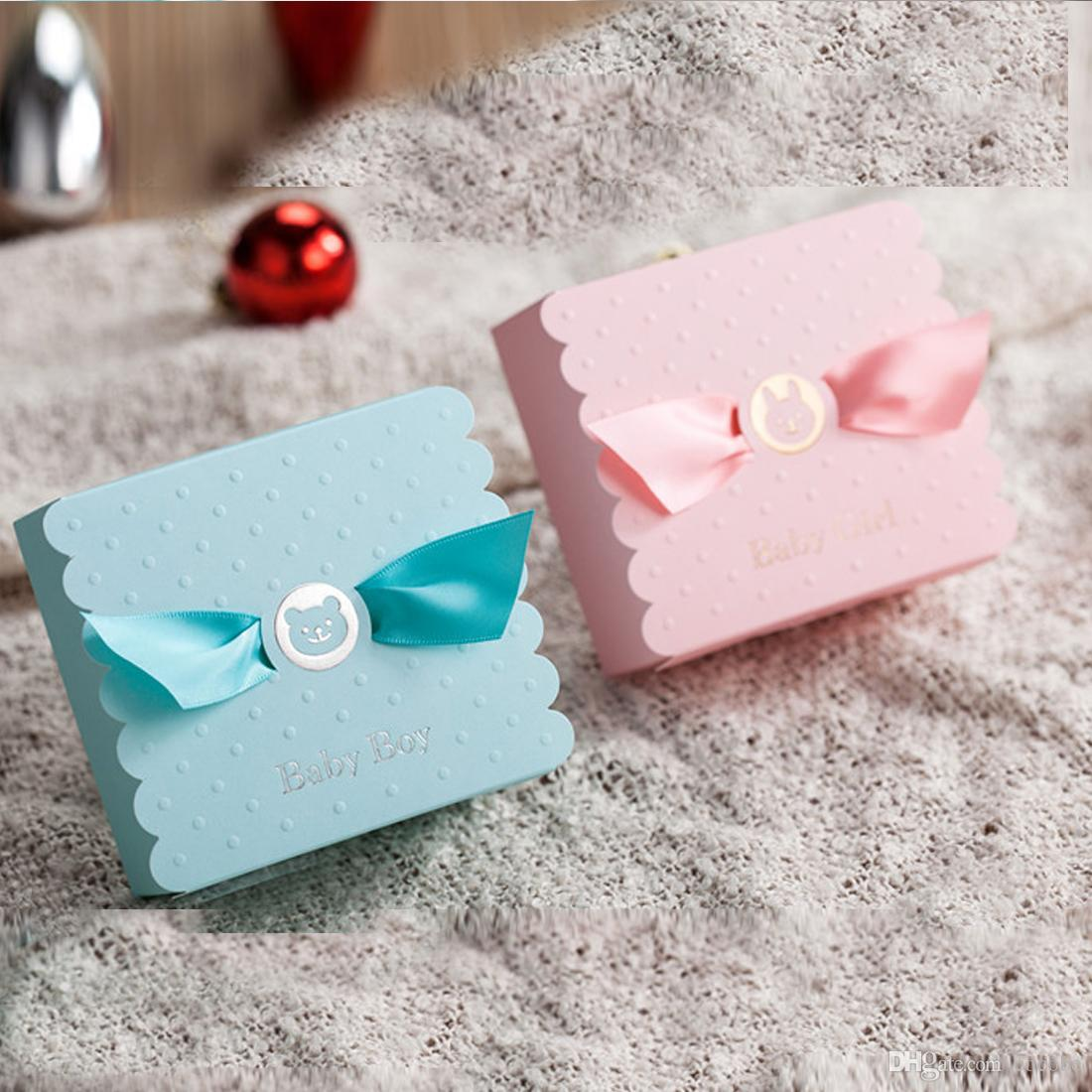 50x Lovely Candy Boxes Birthday Pink Blue Baby Christening Kid Boy