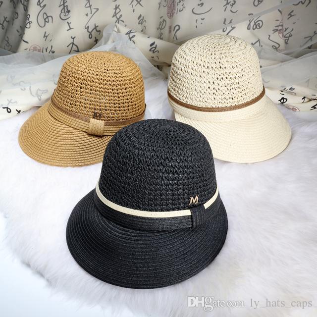 Compre 2018 Sombreros De Verano Para Mujeres Chapeu Feminino Chapeau Paille  Femme Estilo De Equitación De La Moda M Carta Sombrero De Paja Gorra De Sol  Para ... 0dac0c6f4d6
