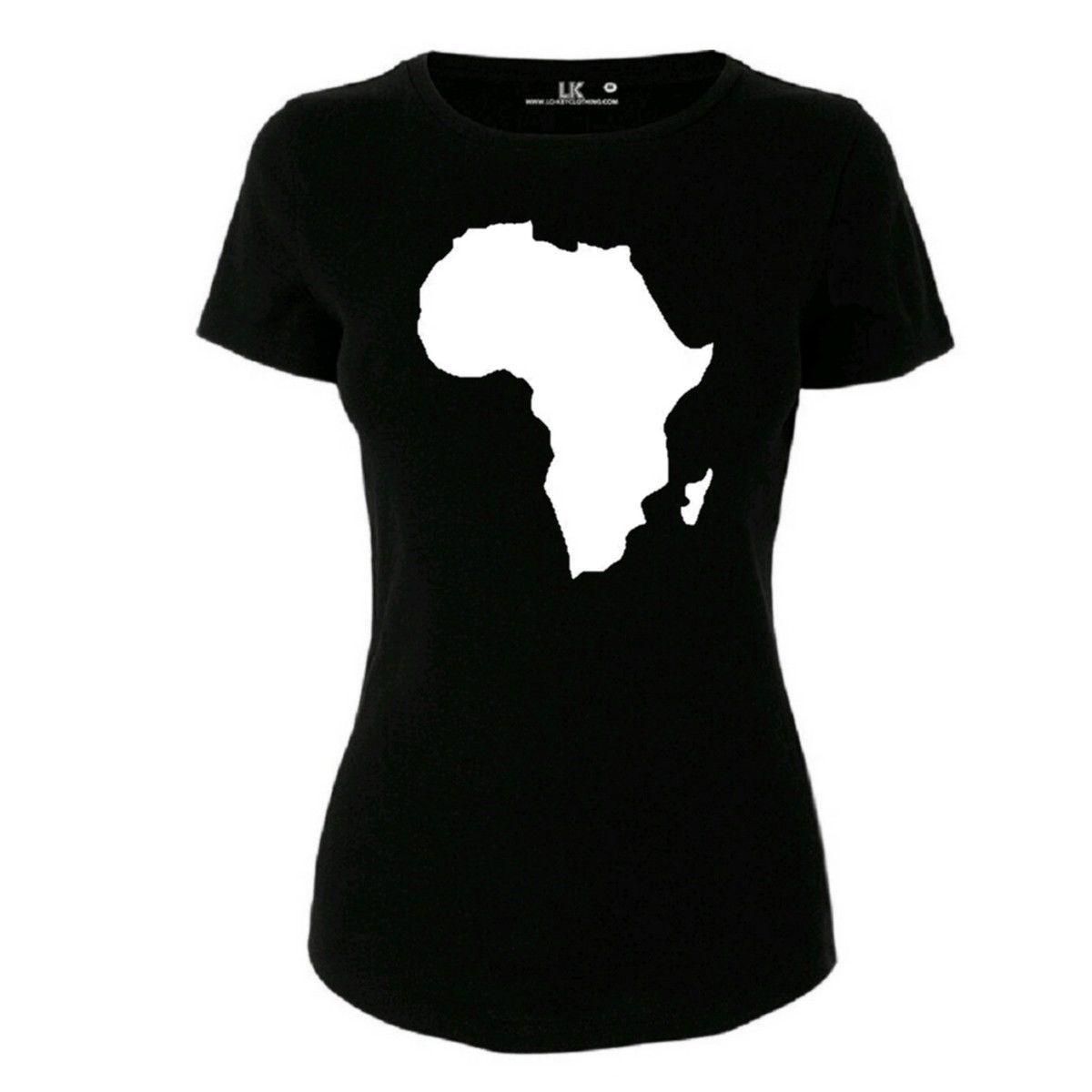 Women's Africa Map TShirt Cute Tee World Continent Urban Top Streetwear 2019 Summer Hiphop Harajuku Brand