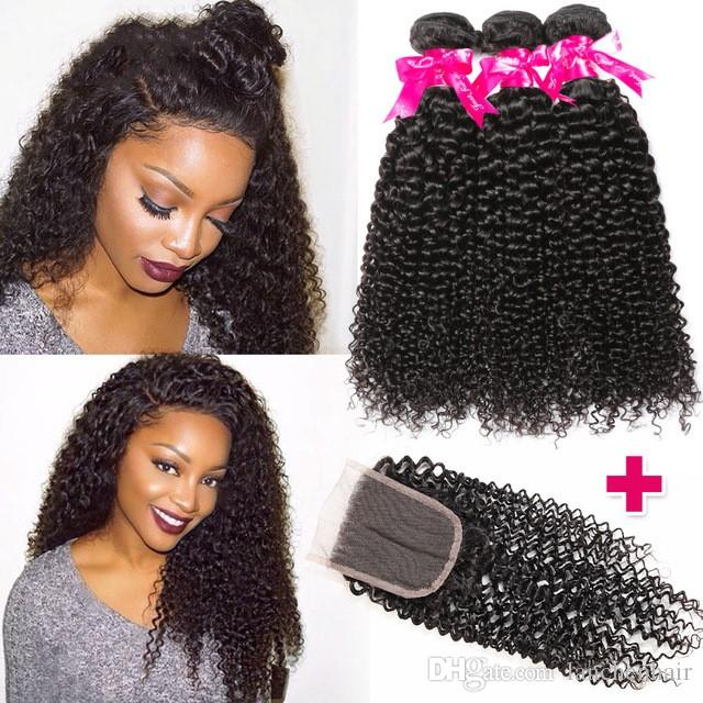 Perstar Hairs Virgin Curly Weave Human Hair With Closure 4PCS Peruvian Virgin Hair Weave Bundles with Closure Swiss Lace Hair