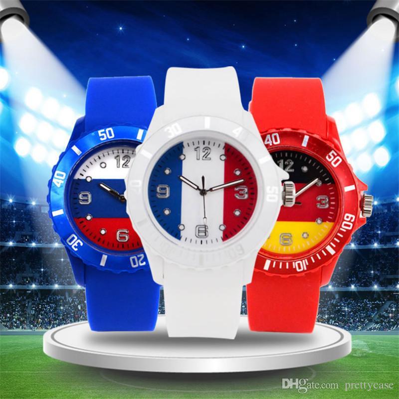 Fan De Brésil Monde Sport Bracelet Coupe Du Russie Américain Football Mode Montres Analogique Montre Silicone Flag Quartz Drapeau 2D9HIE