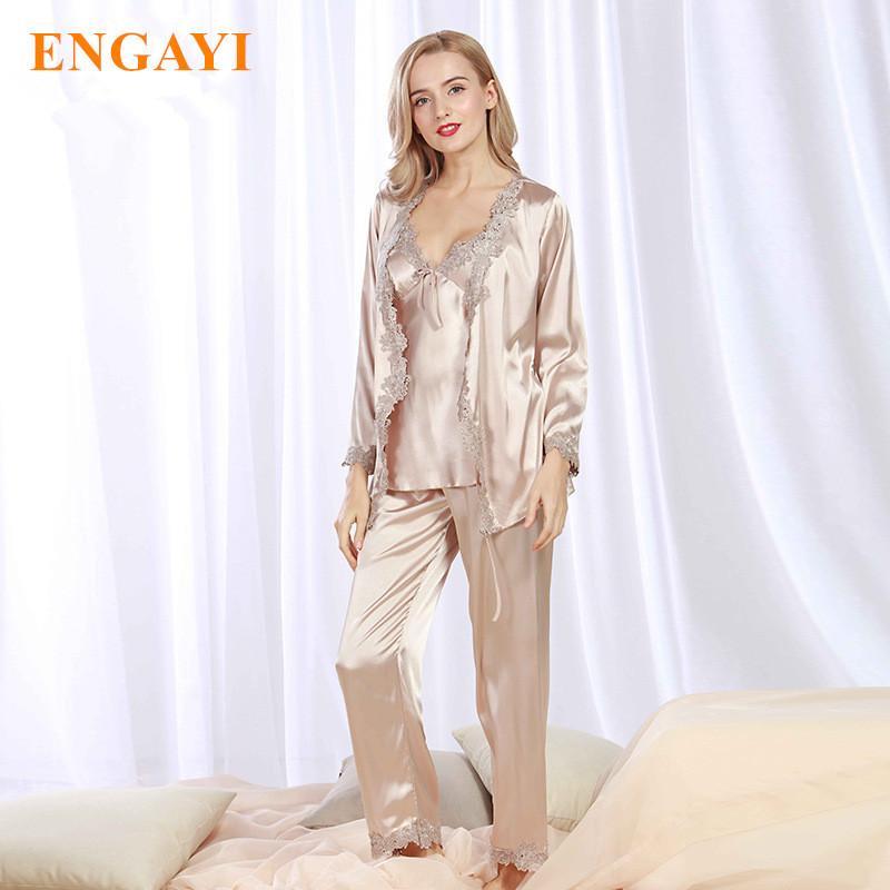7e6c0478f Plus Size New Spring Women Silk Satin Pajamas Pyjama Sets Pijamas Nightgown  Sexy Sleepwear Bathrobes Night Gown STZ301 Y18102205 Online with   57.41 Piece on ...