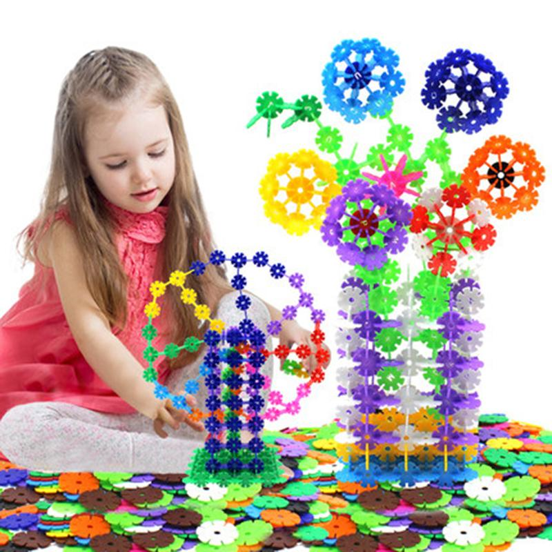 Wholesale-400pcs/lot Snowflake Building Blocks Educational DIY Toy Bricks Assembling Early Learning Classic Block Toys Kids Children Gift