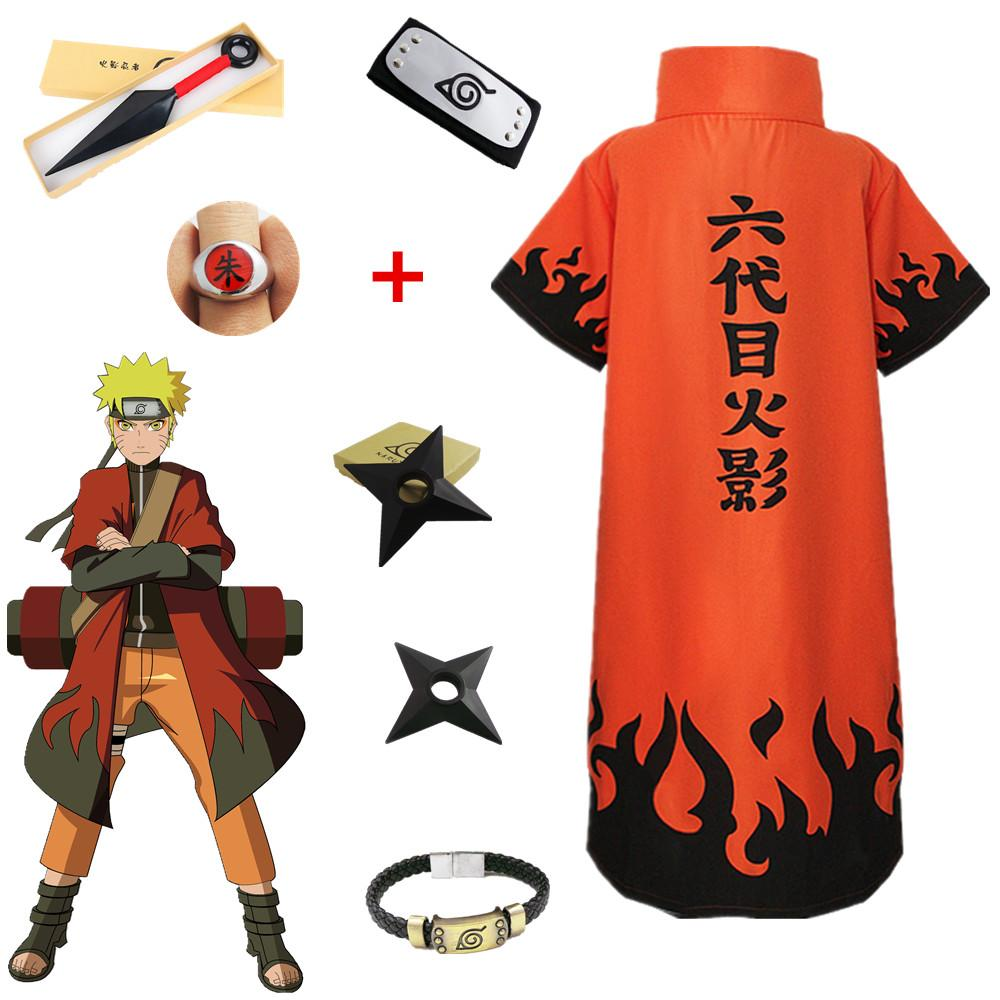 Asian Size Japan Anime Uzumaki Naruto 6th Halloween Cosplay Hokage Unisex Costume Loose Overcoat Cloak Full Set Abe Lincoln Costumes Dbz