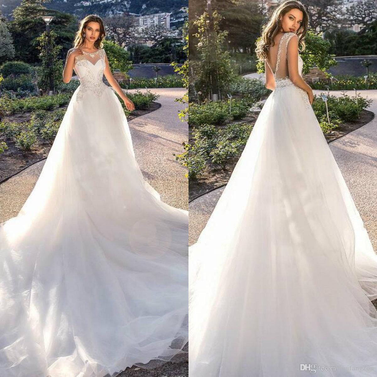4ad25d385c6 Discount Tina Valerdi 2019 Wedding Dress Sheer Jewel Neck See Through  Crystal Design Tulle Bridal Gowns Custom Made Cheap Simple Wedding Dresses  Christian ...