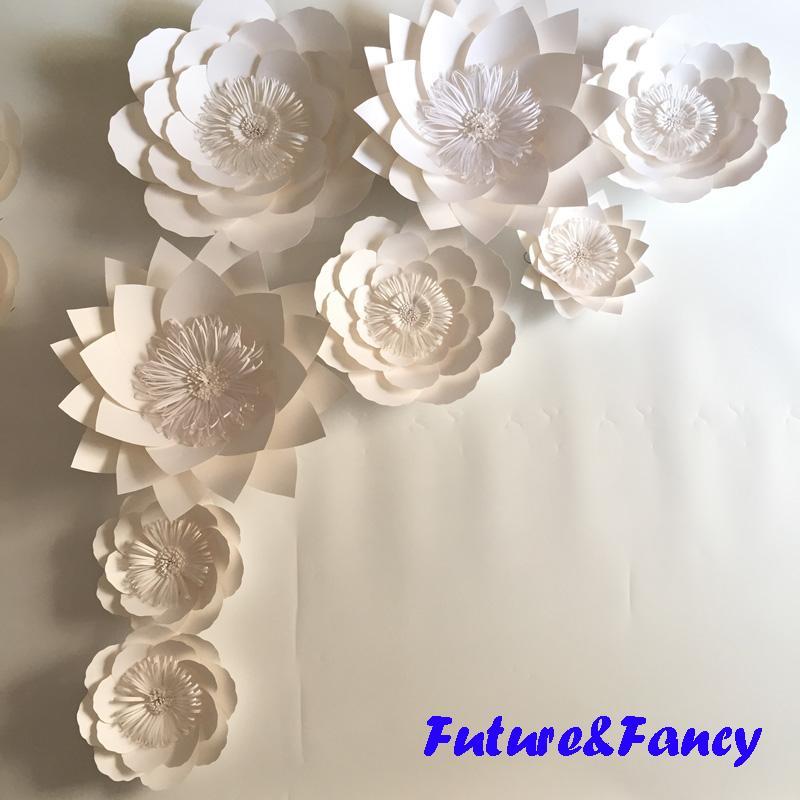 60d0b984321 2019 Set Giant Paper Flowers For Wedding Backdrops Bridal Shower Baby Shower  Party Decor Flower Centerpiece Wrist Corsage From Diyunicornflowers