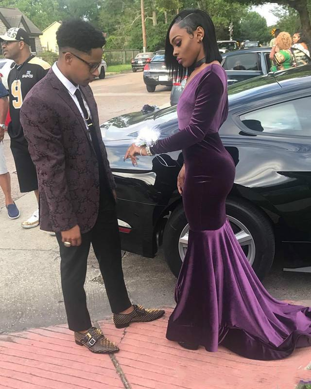 3e5ec4fa38eb Latest Purple Velvet Mermaid Prom Dresses 2019 Sexy Deep V Neck Long  Sleeves Sweep Train Elegant Formal Dress Evening Wear Cheap Long Dress  Online Long Lace ...