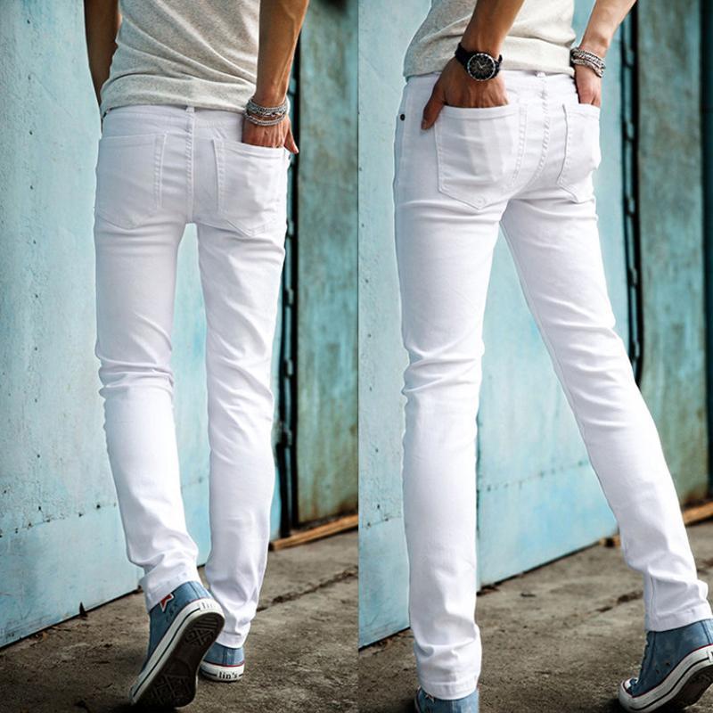 Neupreis doppelter gutschein elegante Schuhe Hohe Qualität 2018 Art und Weise dünne männliche weiße Jeans-Männer Hose  Mens beiläufige dünne Bleistift-Hosen Jungen Hip Hop pantalon homme S1011