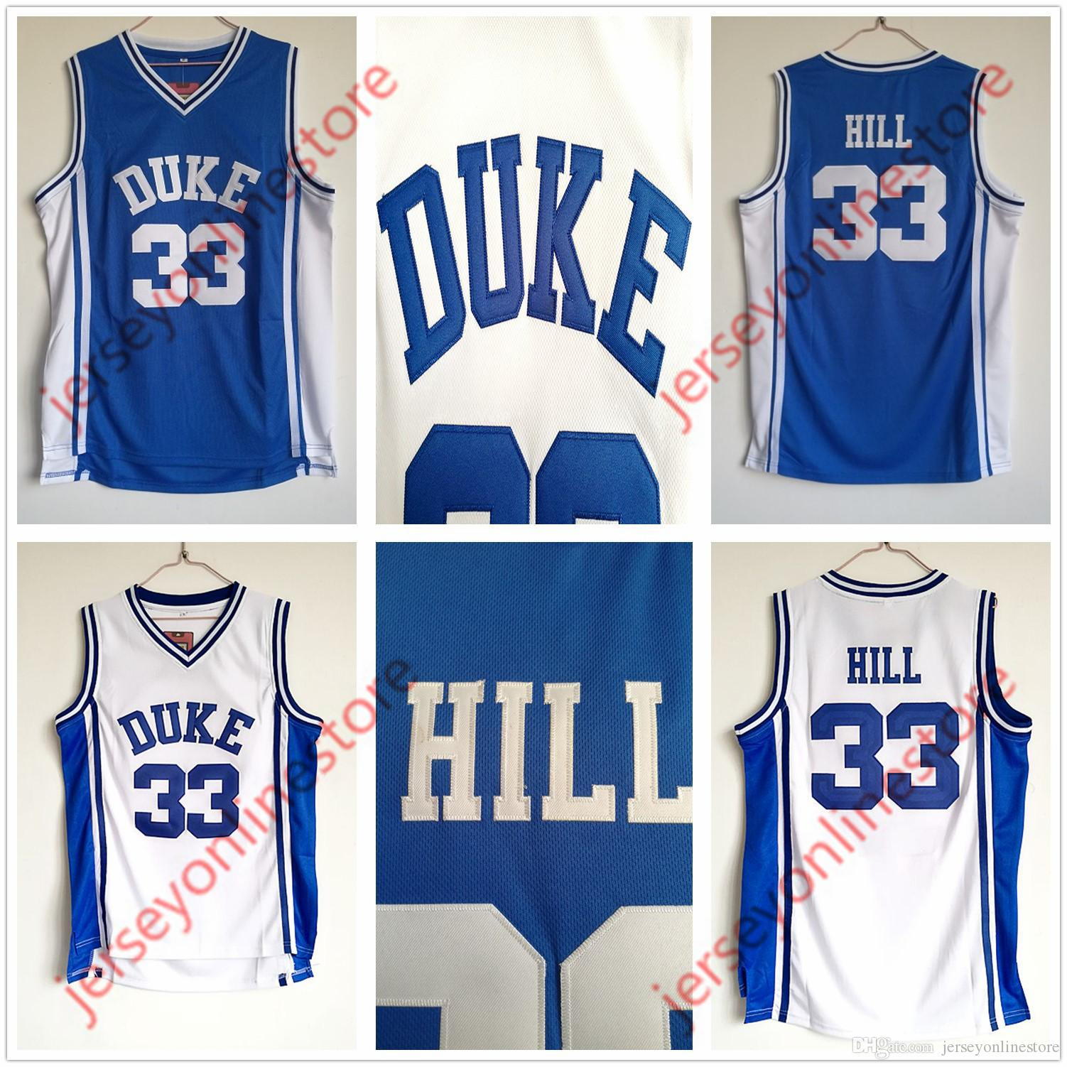 Grant Hill #33 Custom College Basketball Jersey Blue Any