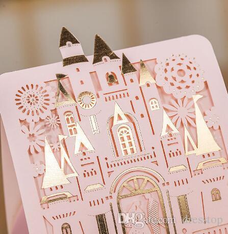 2018 Nouveaux Coupes de mariage Faveurs de mariage Mariée et marié Boîtes de bonbons Faveurs de mariage Rose Château de fleurs Cadeau Coffret Décoration de mariage