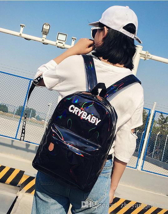 New women laser single double shoulder backpack lady Travel casual purse black/pink/silver/blue color no599