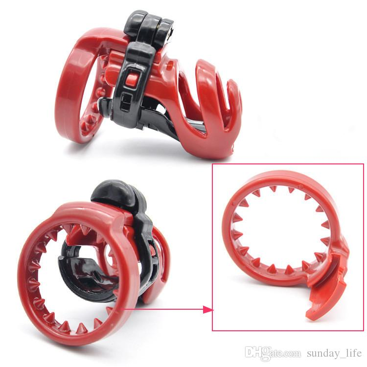 !!!New design short plastic Male cock lock 4 rings Chastity anti-off device cage bondage restraints SM sex toy for men