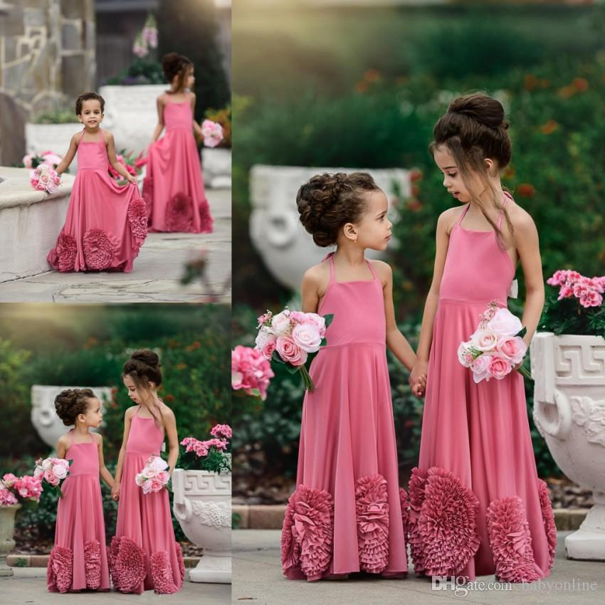 3c0207c6977c 2018 Cute Summer Boho Flower Girl Dresses For Western Garden Weddings Cute  Spaghetti Straps Big Flowers Long Kids Formal Gowns Pageant Dress For  Little Girl ...