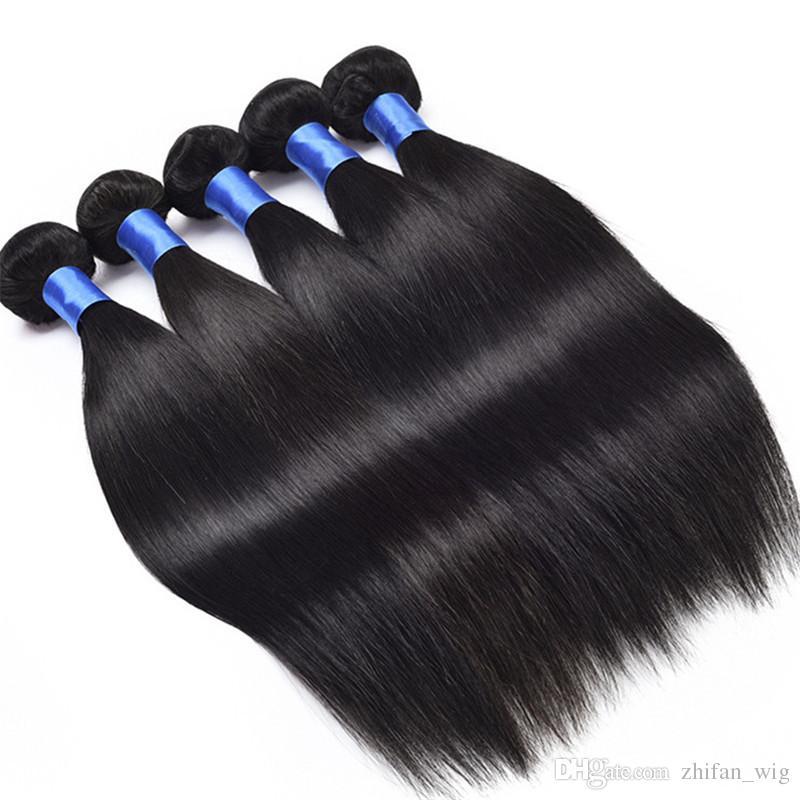 ZF 8-28 inç Vizon Brezilya Saç Kıllar Uzantıları Ombre İnsan Saç Yığınlar Kapsamlı Gerçek 100% Siyah 100G
