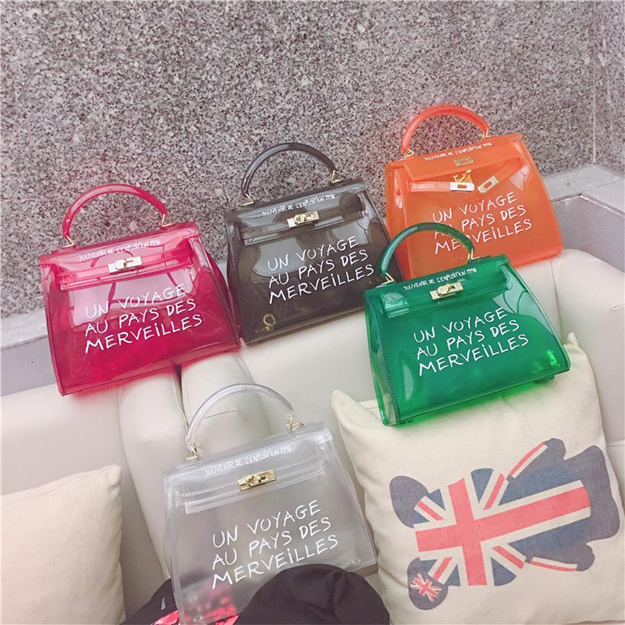 d0de493ea726b Top-handle Clear Transparent Pvc Women Shoulder Bags Letter Jelly Candy  Color Women Messenger Crossbody Bag Luxury Females Bolsa Y1892506 Online  with ...
