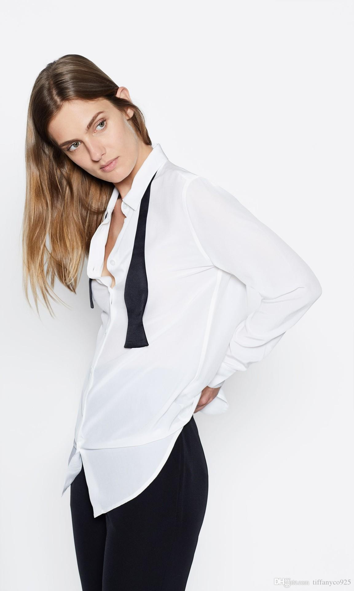 2018 Newest France Long Sleeves Turn-Down Collar Solid Color With Tie Real Silk With Pockets Lady Top Blouse Equipment EQ Blouses & Shirts