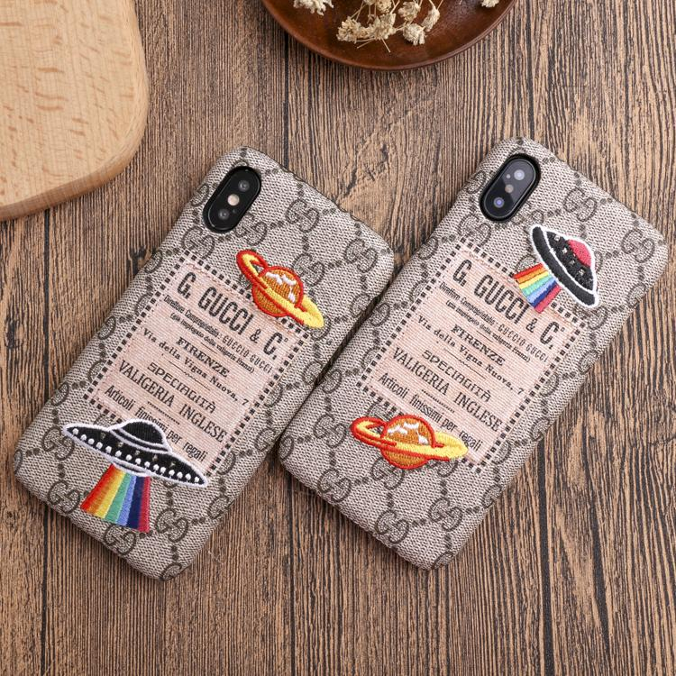 Fashion Brand Phone Case for IphoneX/XS IphoneXSmax 7P/8P 7/8 6/6sP 6/6s Fashion Creative Personality Back Cover with Embroidery UFO Planet