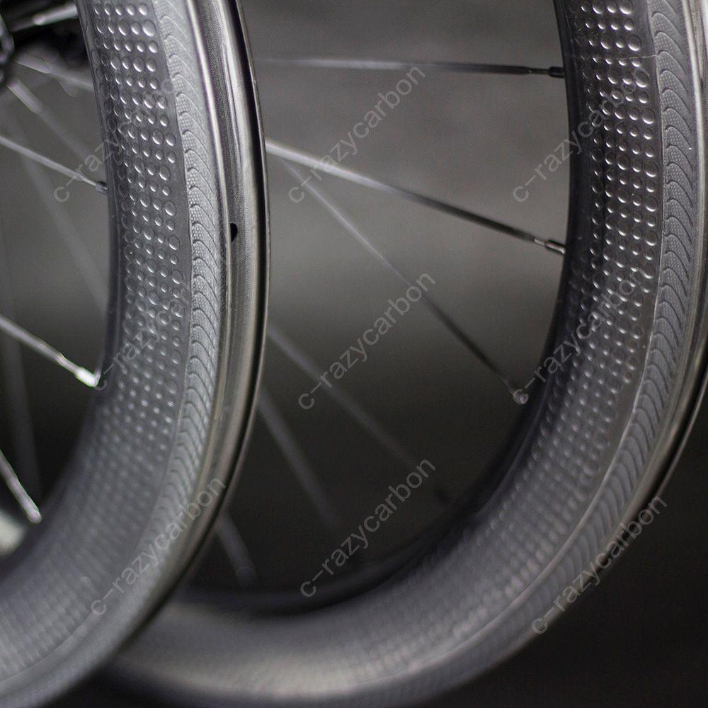 Özel Fren Yüzey Dimple Karbon Tekerlekler 58mm Kattığı Yol Bisikleti Karbon Tekerlek 700C Yol Bisikleti