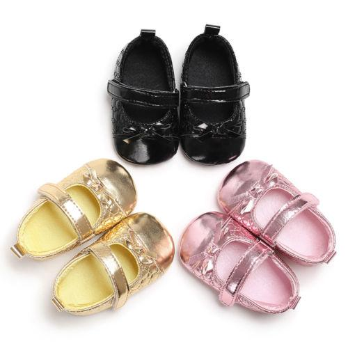 f9fe0c825ad3 2018 Princess Newborn Infant Baby Girls Shoe Pu Leather Bling Soft Sole  Crib Shoes Bowknot Anti Slip Hook Loop Cotton Prewalker 0 18m From  Orchidor