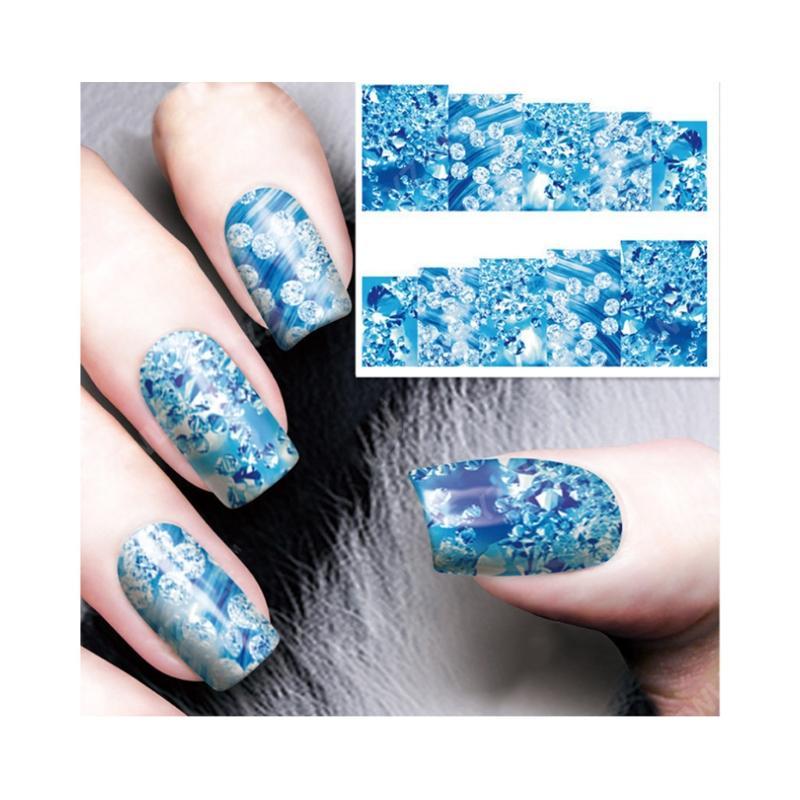 Blue Rhinestones Designs Nail Art Adhesive Sticker Complete Decals