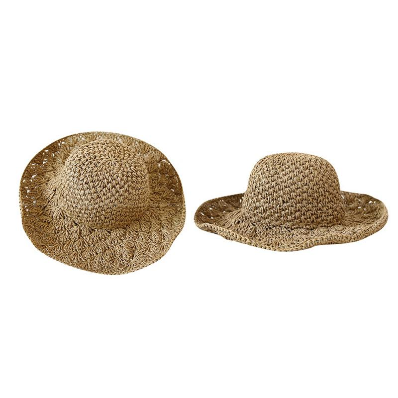 Summer Female Hat Wide Brim Hollow Out Hand Crochet Straw Foldable Fashion Beach Hat Chapeu Feminino Sunshade For Women 8C0957