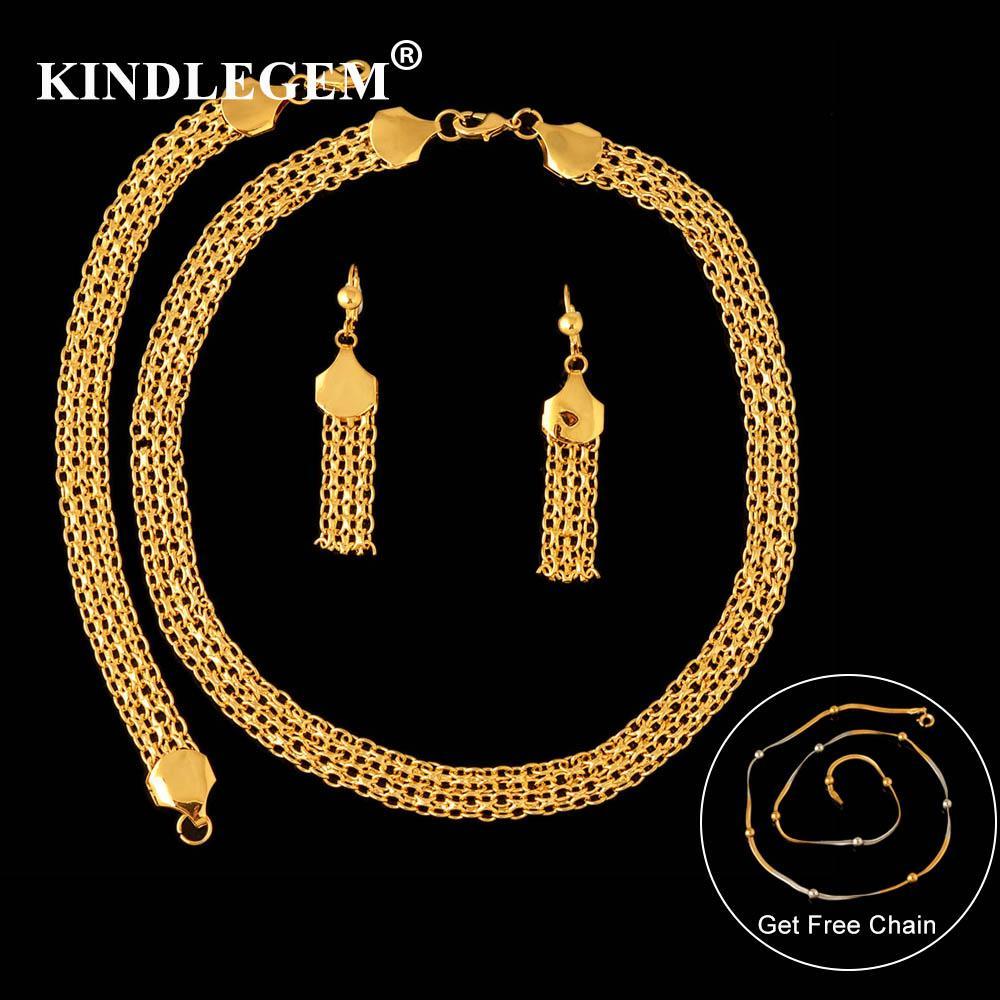 b6a0b50bd12b Großhandel Kindlegem Dubai Afrikanische Schmuck Sets Für Frauen Hochzeit  Luxus Hohe Qualität Vakuumierung Gold Halskette Ohrringe Armband Von  Bensimmons, ...