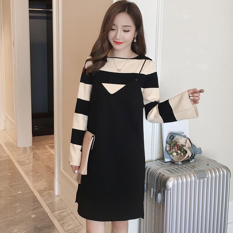 22d68f1615f 2019 2017 Maternity Clothes Spring Fashionable Maternity Dresses Two Pieces  Sets Long Shirts Pregnant Women Suspender Dress From Jeanyme
