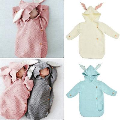 74cm Newborn Hooded Swaddle Wrap Baby Rabbit Ear Knit Swaddling