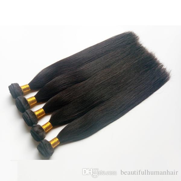 Brezilyalı İnsan Saç Örgüleri Atkı ipeksi Düz 8-30 inç Doğal renk 7A Yüksek kalite 3 4 5 Demetleri Hint remy İnsan saç atkı Uzantıları