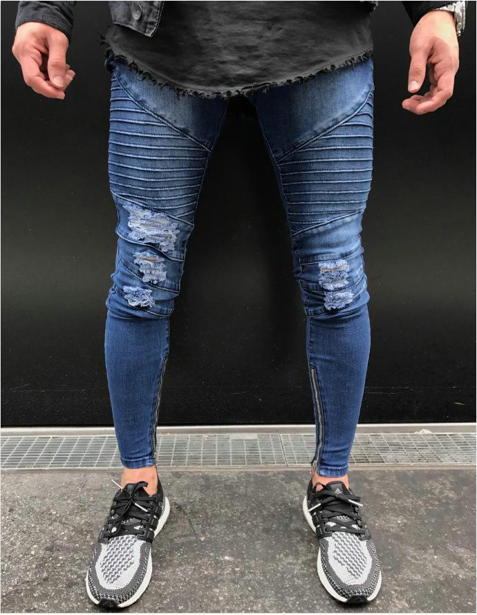 Best Hot New Mens Jeans Fashion Hole Skinny Pants Casual Denim Pants Modern Tight Jeans Man Trousers   Under 22 04 Dhgate Com
