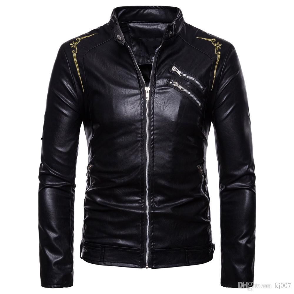 59809f971a3 2019 High Quality Leather Coats Jackets Men Fashion Embroidery Flower  Motorcycle Leather Jackets Man Outerwear PU Jackets For Men From Kj007