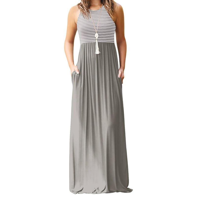 Großhandel Gestreifte Reizvolle Sleeveless Maxi Dress Boho Sommer Frauen  Tank Lange Kleider Plus Größe 2019 Femme Strand Taschen Casual Sommerkleid  Von ... b75ba22be8