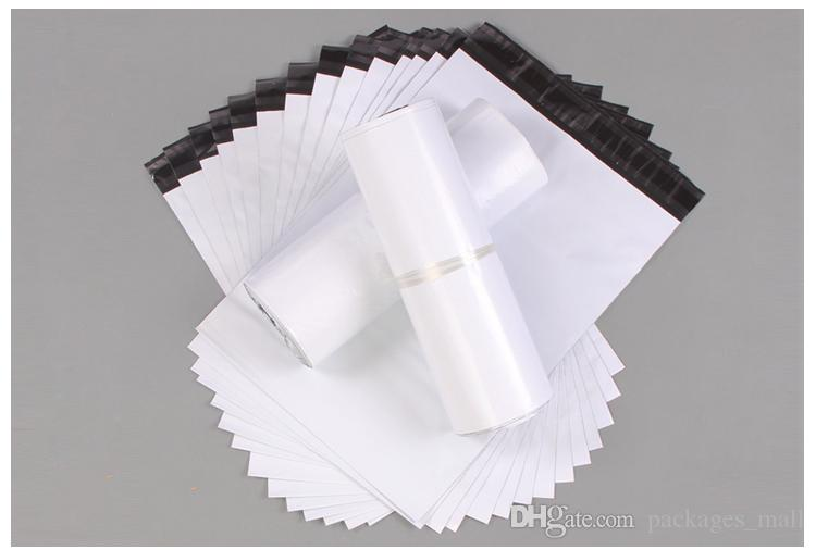 17x30cm Bianco Poly Self-seal Express Borse di spedizione Autoadesive Courier Mailing Busta di plastica Busta Courier Post Postal Packing Mail Bags