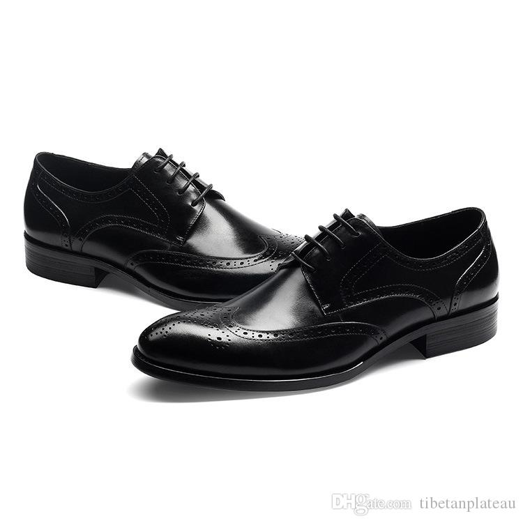 af275a884467 New Mens Genuine Leather Dress Shoes Fashion Carving Lace Up Wedding Shoes  Men Business Office Work Shoes Black Red Brown Coffee Mens Shoes Online Mens  ...