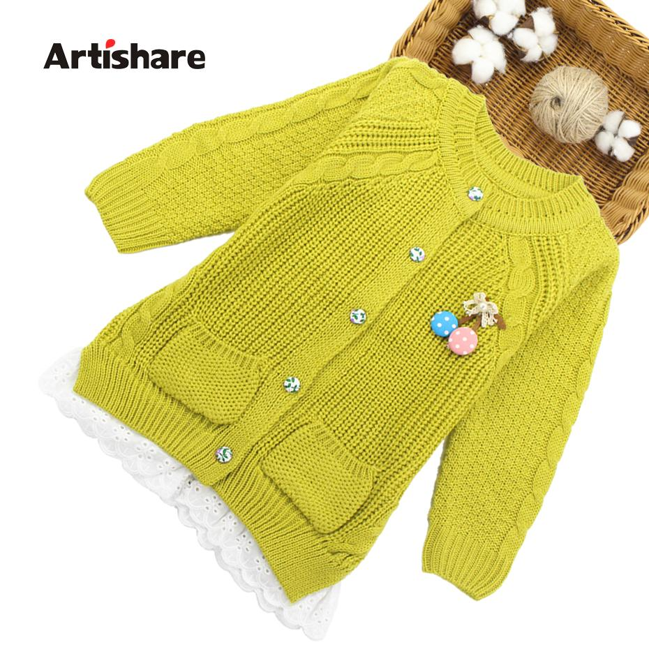 Artishare Kids Sweaters Teenage Girls Knitted Outerwear & Coats Lace ...