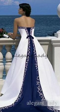 Vintage Two Tone Lace-up Wedding Dresses with Beaded Applique Edge 2018 Custom Make Corset Gothic White and Blue Beach Bridal Dress