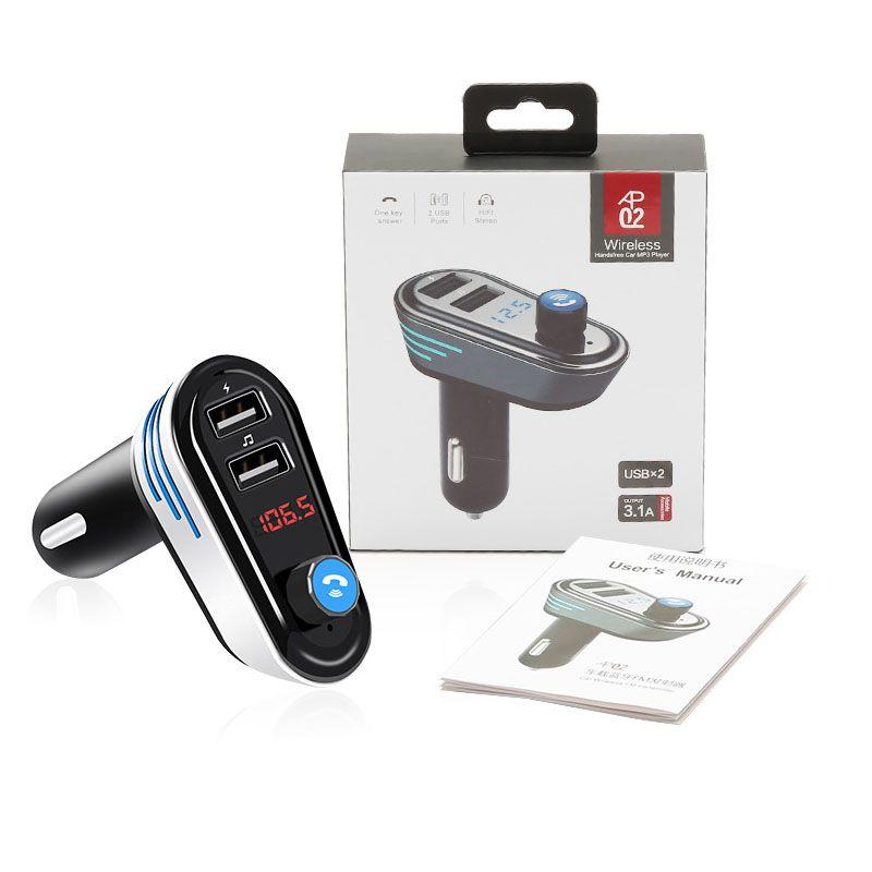 Chargeur de voiture AP02 Bluetooth main libre appelant musique jouer LCD dot écran Matrix pour Smartphone Soutien 32G U disque FM Free DHL