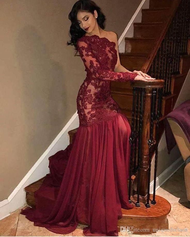 0c38e9c7d81 2018 Classic Burgundy Prom Dresses Lace Appliques One Shoulder Long Sleeve  Mermaid Formal Evening Wear Prom Gowns Western Prom Dresses Xscape Prom  Dresses ...