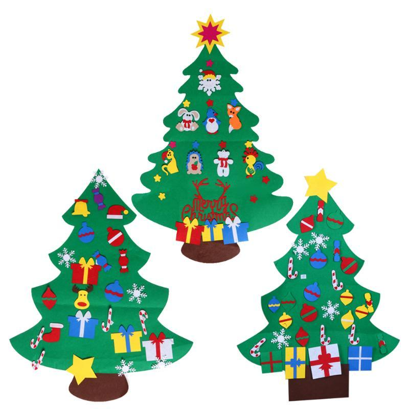diy stereo felt christmas tree with decorations door wall hanging gifts ornaments eductional children gifts xmas decoration christmas ornament sales - Christmas Wall Hanging Decorations