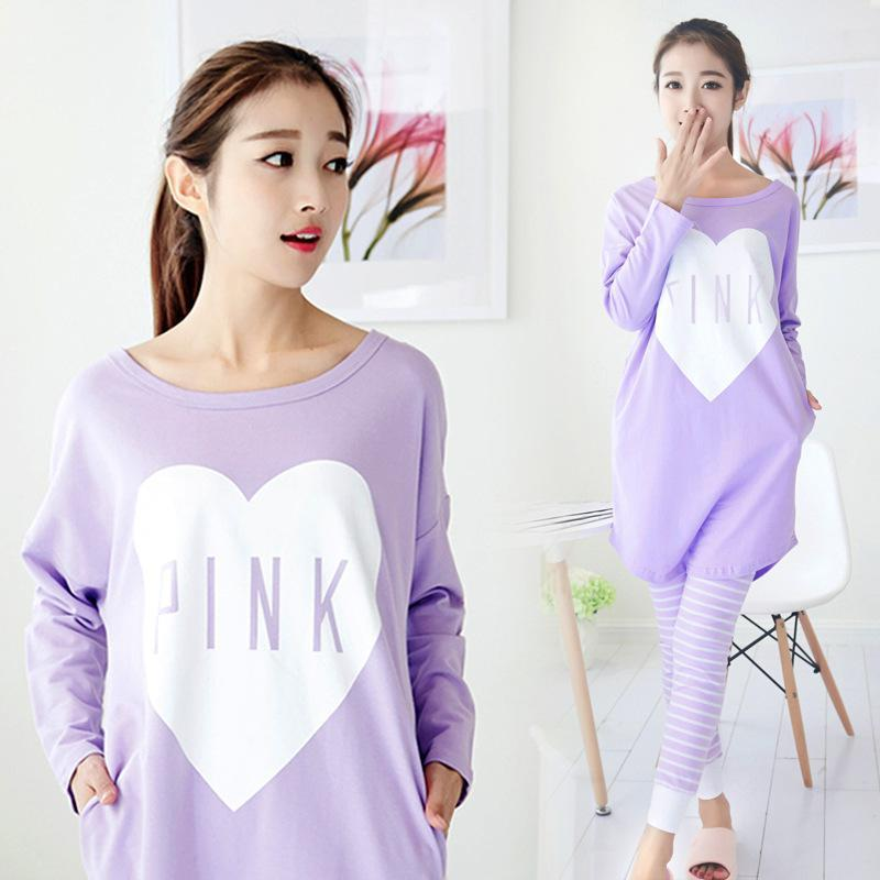f2ad84896f9c New Girl s Cute Pajamas Pijamas Set Purple Long Shirt Pants Home ...