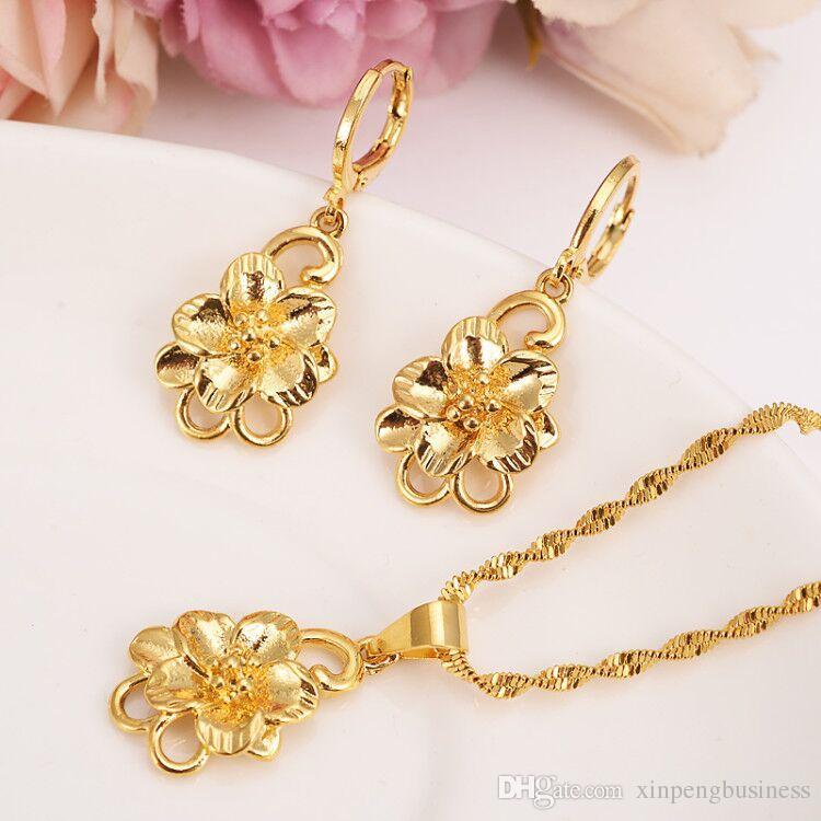 75d91218fd474 Ethiopian 24k Yellow Fine Gold Filled big Flower set women girls Jewelry  Pendant Chain Earrings African Bride Wedding Flower Bijoux