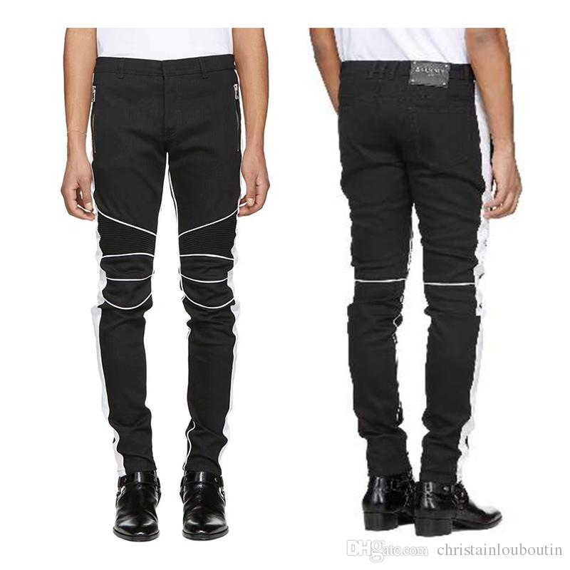 2597bf74 2019 HOT Sale BALMAIN JEANS Fashion 2019 Zippers Skinny Slim Fit Mens  Distressed Justin Bieber Black Cotton Denim Jeans Men Jean From  Christainlouboutin, ...