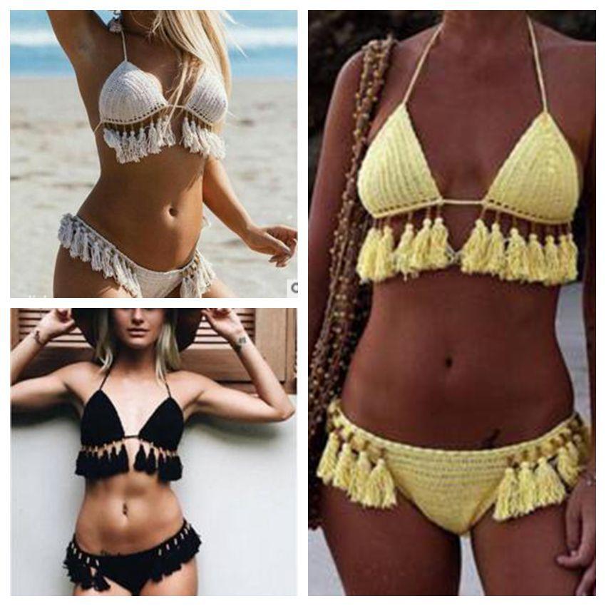 23006dc3cf20f 2019 Crochet Bikini Tassel Handmade Swimwear Women Sexy Summer Swimsuit  Bathing Suits Fashion Knitted Tankini Crop Top Panties Beachwear B4083 From  ...