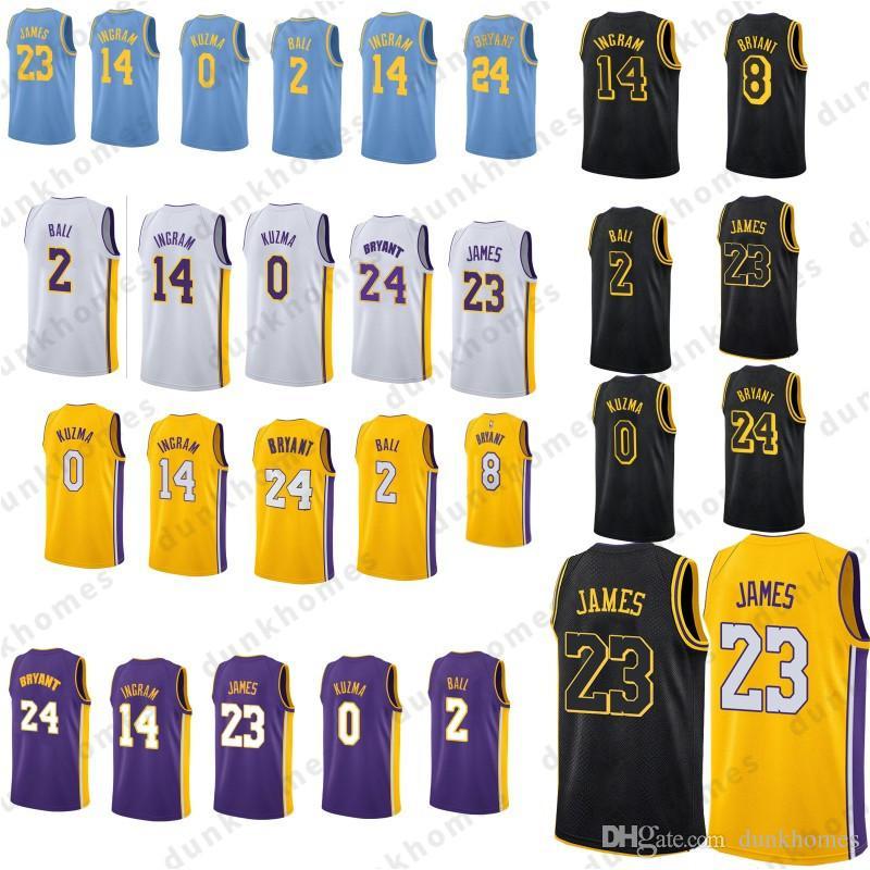 8ebe043b5 Satın Al 23 Lebron James Formaları Los Angeles Lakers 2 Lonzo Topu 0 Kyle  Kuzma 24 Kobe Bryant 14 Brandon Ingram Formaları Erkekler Genç Siyah