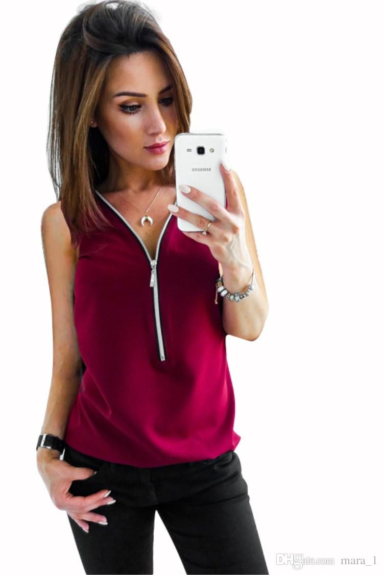 Summer Women Chiffon Tanks Tops Zipper Pure Color V-neck Loose Sleeveless T-shirts Tees Fashion Sleeveless Shirts Vest For Lady Girl L20