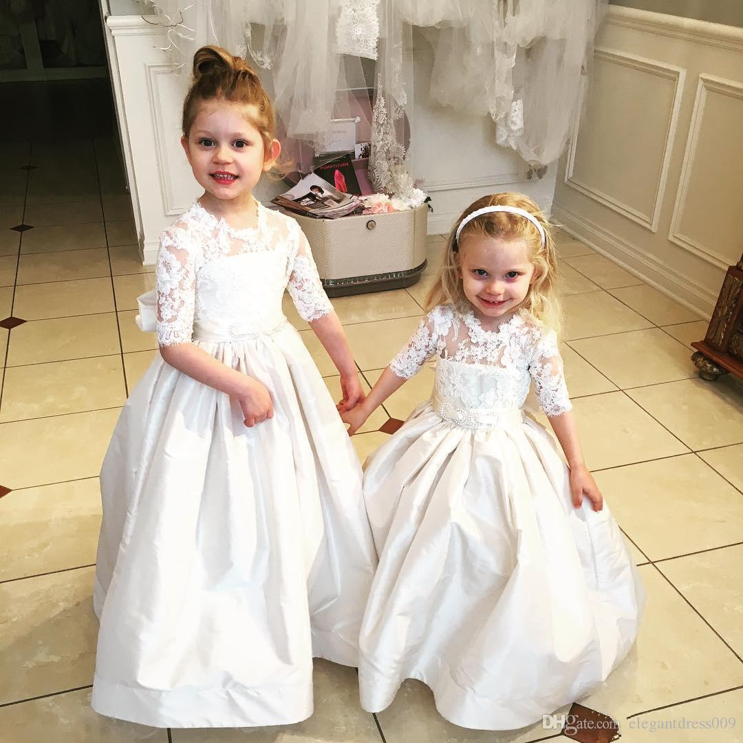 2018 Flower Girls Dresses For Weddings Jewel Neck Lace Applique 1/2 Sleeves Girls Pageant Dresses First Communion Dress Bow Knot Custom