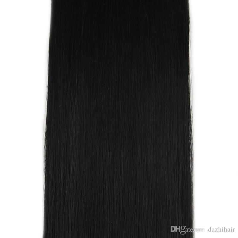 1g pro Strang 50g 100g pro Packung Micro Ring Loop Haarverlängerung Farbe # 1 Jet Black Remy Echthaar Straight Extensions