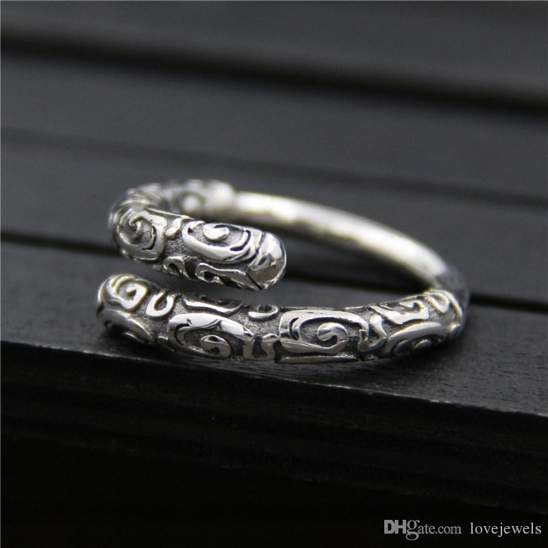 4f303d6d7ee55 925 sterling silver ring vintage Designer monkey golden cudgel ring fashion  men and women Thai personality ring hip hop jewelry adjustable