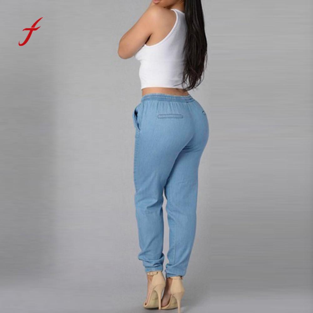 Pantalon Casuales Feitong Pantalones Mujer 2018 Elástica De Cintura Jeans Blue Denim Harajuku Casual Alta DE9I2H